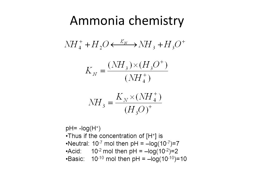 Ammonia chemistry pH= -log(H+) Thus if the concentration of [H+] is